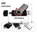 Hot Selling Plastic and Metal Material 2 in 1 Swivel OTG USB 2.0 for Android & PC