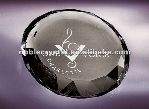 Noble New Logo Engraved Optic Crystal Kaleidoscope Paperweight