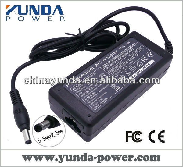 Commonly used laptop adapter 60w 19v 3.16a 5.5mm*2.5mm for Toshiba /Acer/Gateway/NEC/DELL/HP/Compad