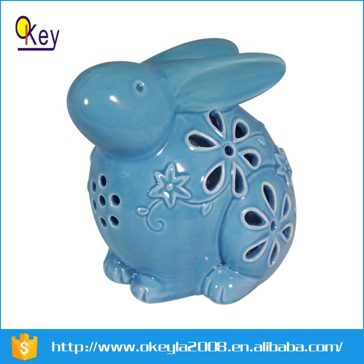 ceramic animal Easter rabbit figurine with LED lighted up