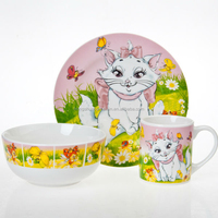 factory supply directly 3pcs breakfast dinner set with cat cartoon painting