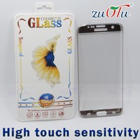 Hot style free shipping 3d surface perfect cured tempred glass screen protector for s7 edge