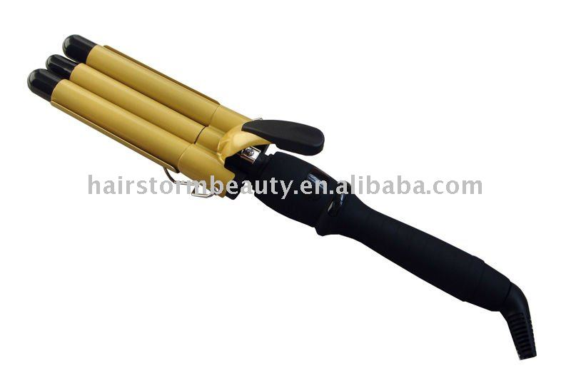 triple hair curling iron, triple hair curler, triple hair curling tongs