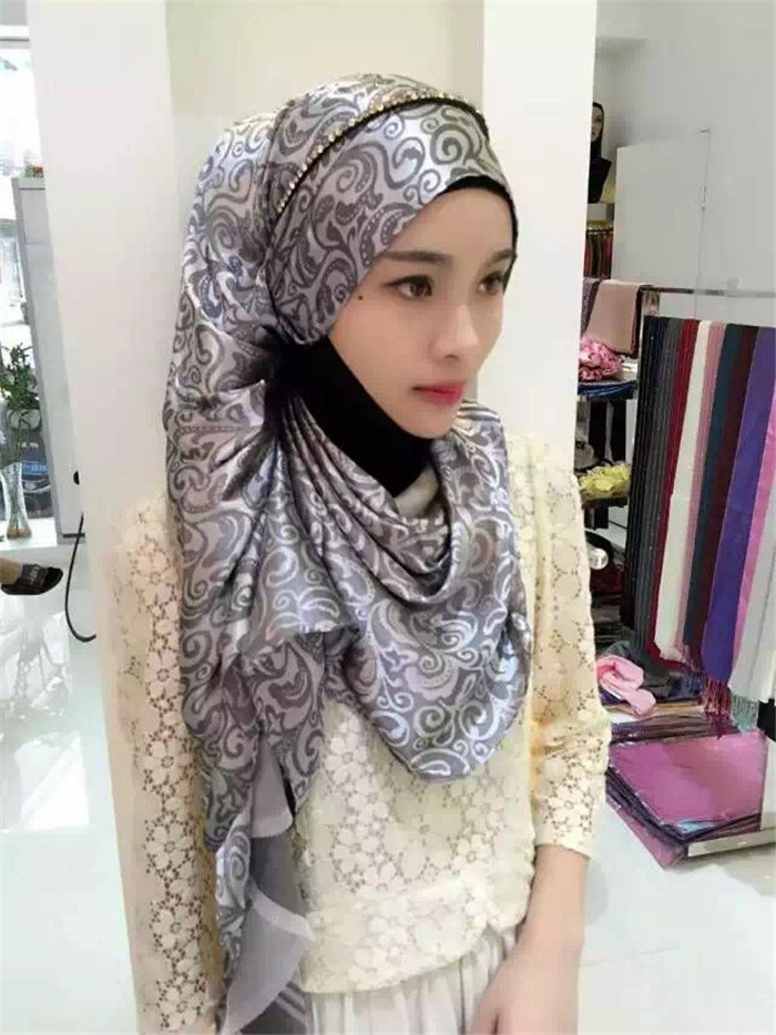 Women Shawl Hijab New Designs Flower Printed Muslim Sacrves Long Tudung Hijab TJ3020