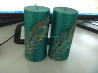 Colored Fragranced candle / scented candle/ peacock feather pillar candle LYSP6001