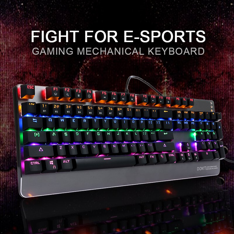 Promotion <strong>104</strong> keys Gaming Keboard Blue Switch LED Backlit Mechanical Keyboard Full <strong>N</strong>-Key Computer Keyboard Gamer PC for LOL DOTA