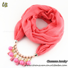 Wholesale Necklace Scarves Wrap style jewel beads pendant short neck scarf