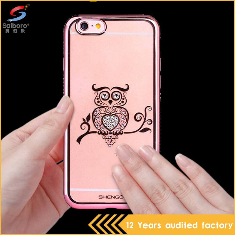 Latest high quality bulk cheap crystal mobile back cover for iphone 6s