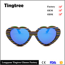 hot selling blue polarized lens colorful wooden heart shaped eyewear