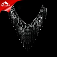 Wholesale Crystal Neckline Strass Design Hotfix Motif Rhinestone Transfers For Clothes