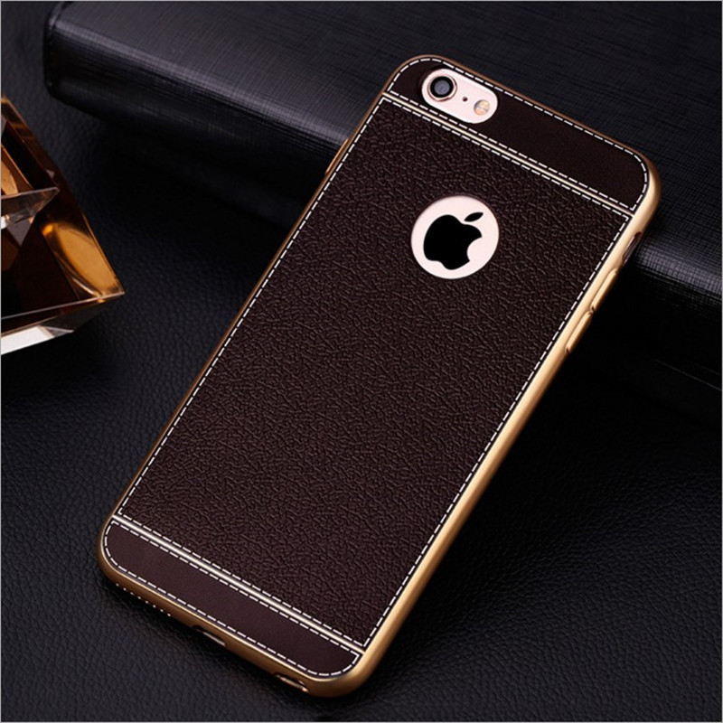 Metallike Electroplated Frame Soft TPU Plastic Leather Pattern 5 inch mobile phone back cover with high quality