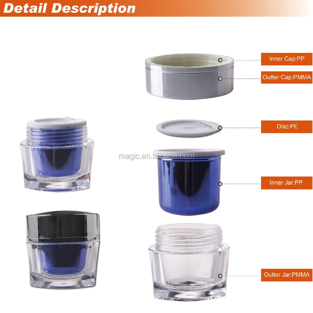 15g 50g new arrival beautiful trangle acrylic cream jar cosmetic plastic packaging