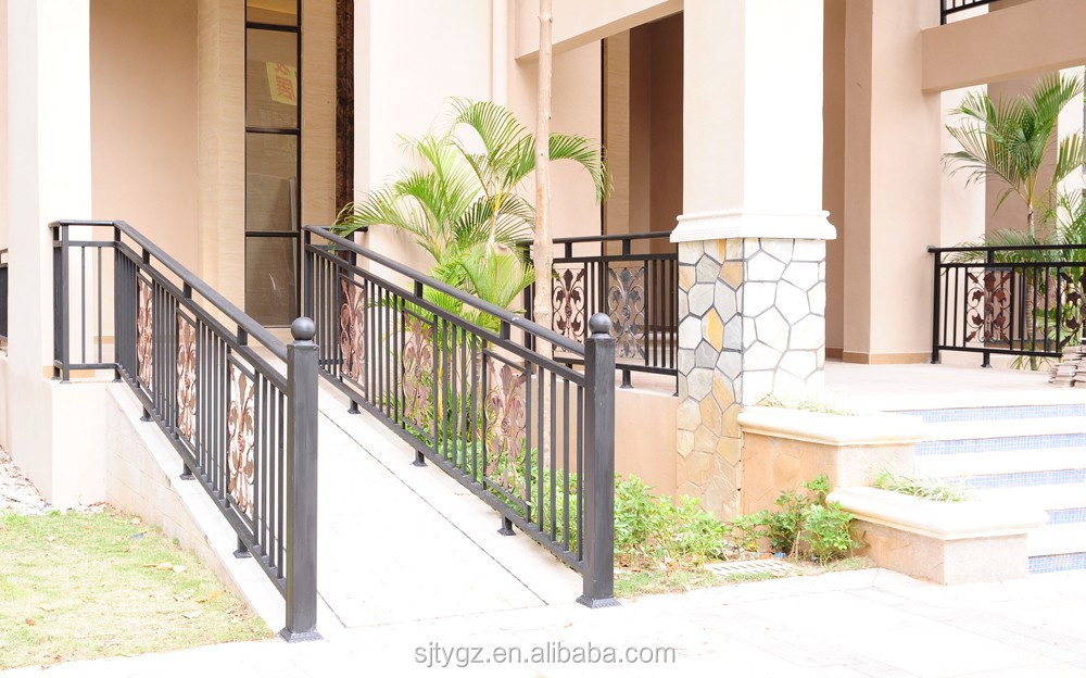 Wrought iron railing for outdoor walkway usage