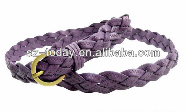 PU wholesale custom lady fashion colorful braided belt