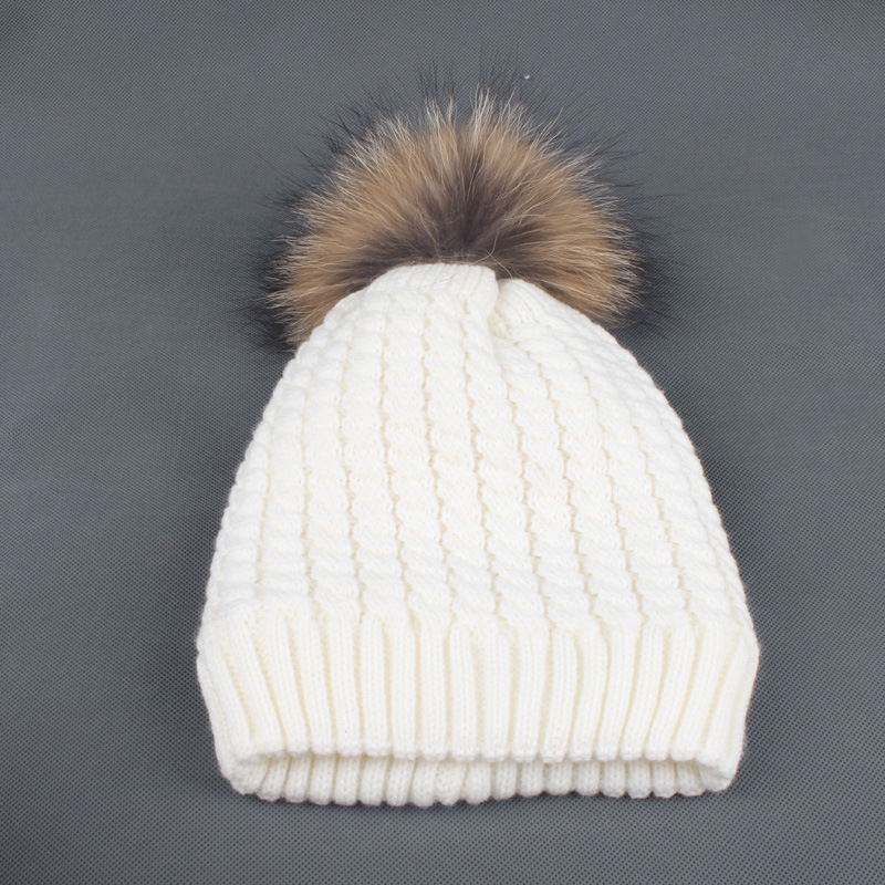 2 layer fleece lined beanie hat with real fur pom pom
