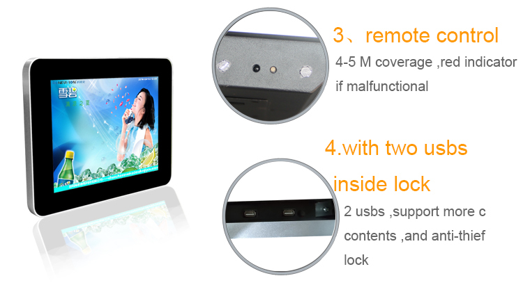Mental case 10 inch lcd monitor for advertising display
