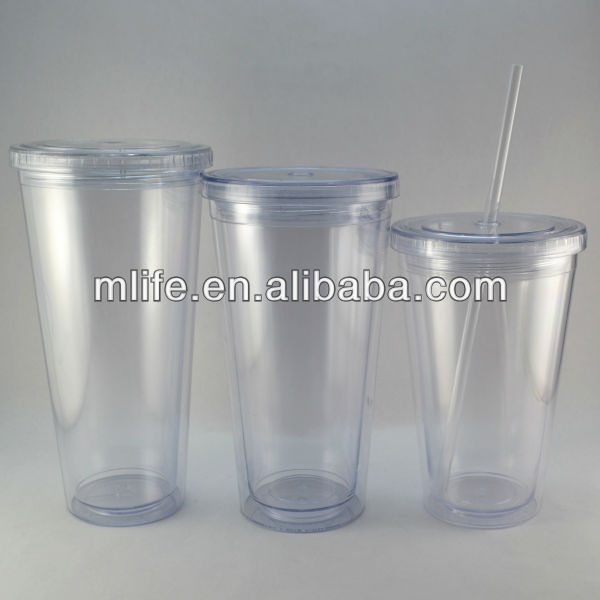 wholesale insulated disposable plastic cups lid and straw