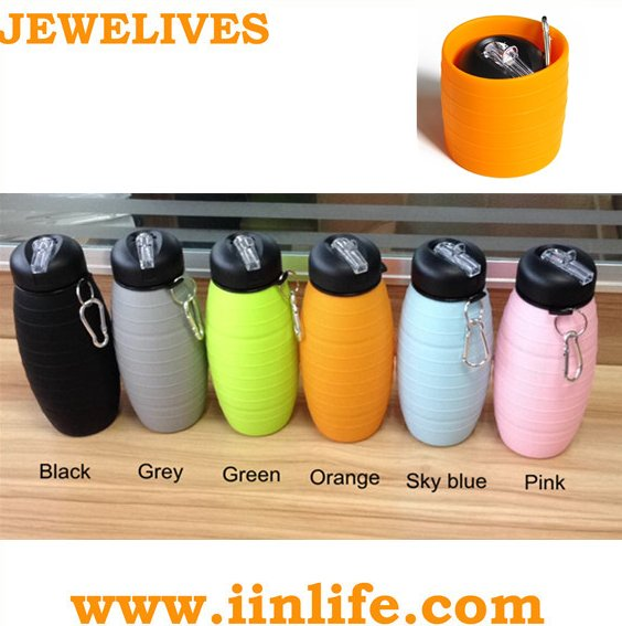 Collapsible silicone bpa free sports water bottle with filter manufacturer