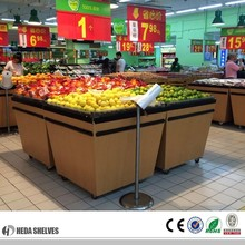 Supermarket vegetable fruit display stand With Wheels For Sale