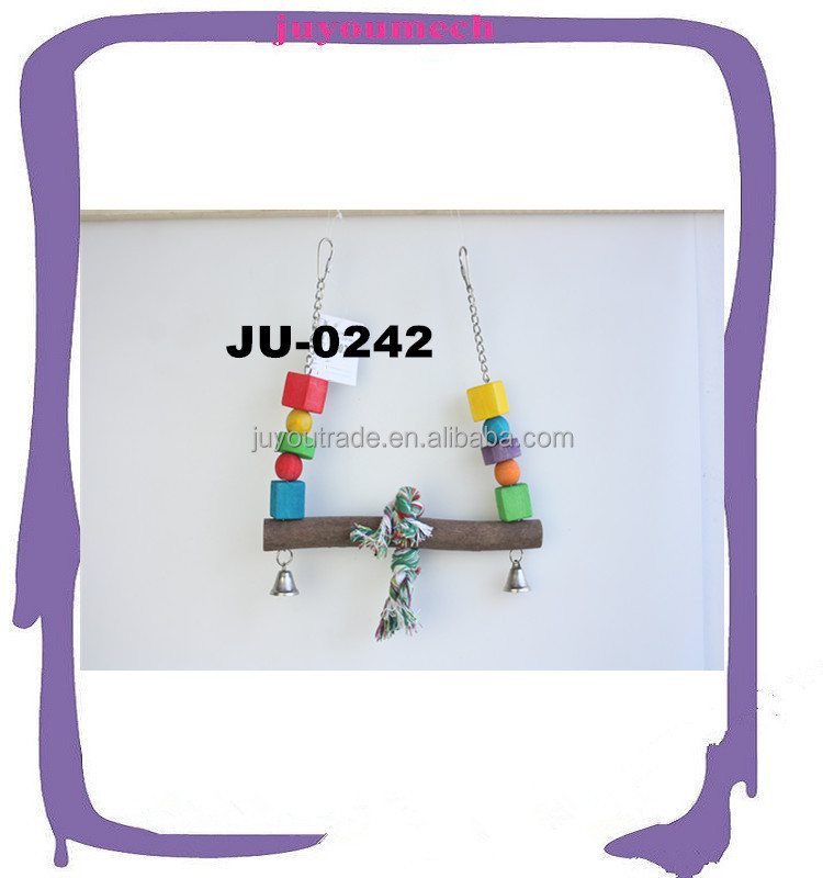 Export well wooden bird swing toys wholesale price wood parrot stopping perch JU-0242