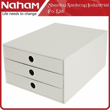 NAHAM three layers foldable cardboard storage drawer box for office