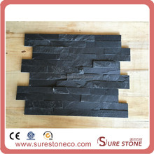 Split face black man-made slate tiles decorative wall panel