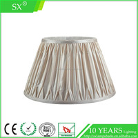 Champagne cone pinched pleat lining fabric table chandelier lamp shade