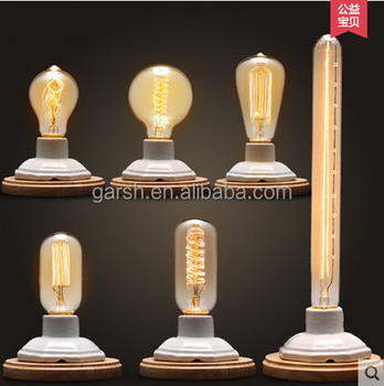 Vintage Ceramic Wooden Industrial Dimmable Edison Bulb Table Lamp