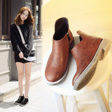 C72385A Women Ladies Winter Leather Martin Boots Ladies Orange Leather Boots