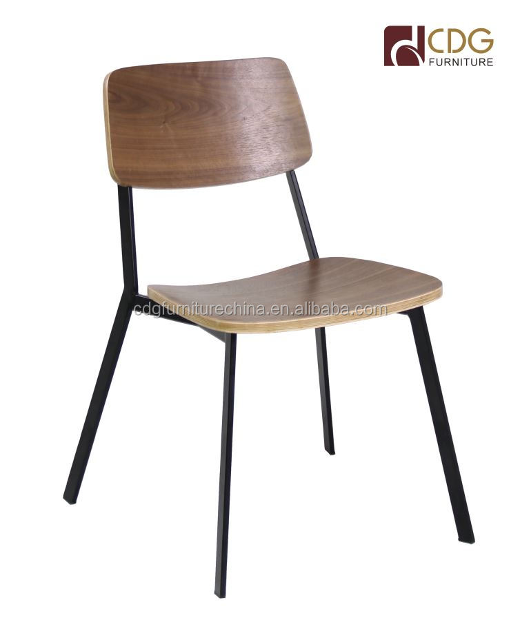 Restaurant Furniture Steel Frame Wooden Seat School Chair Standard Chair
