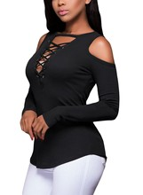Fashion Autumn Womens Deep V-Neck Solid T-Shirt slim tight long sleeve T-shirt