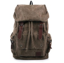 Wholesale brand outdoor shoulder bag brown heavy duty tarpaulin leather canvas hiking backpack bag