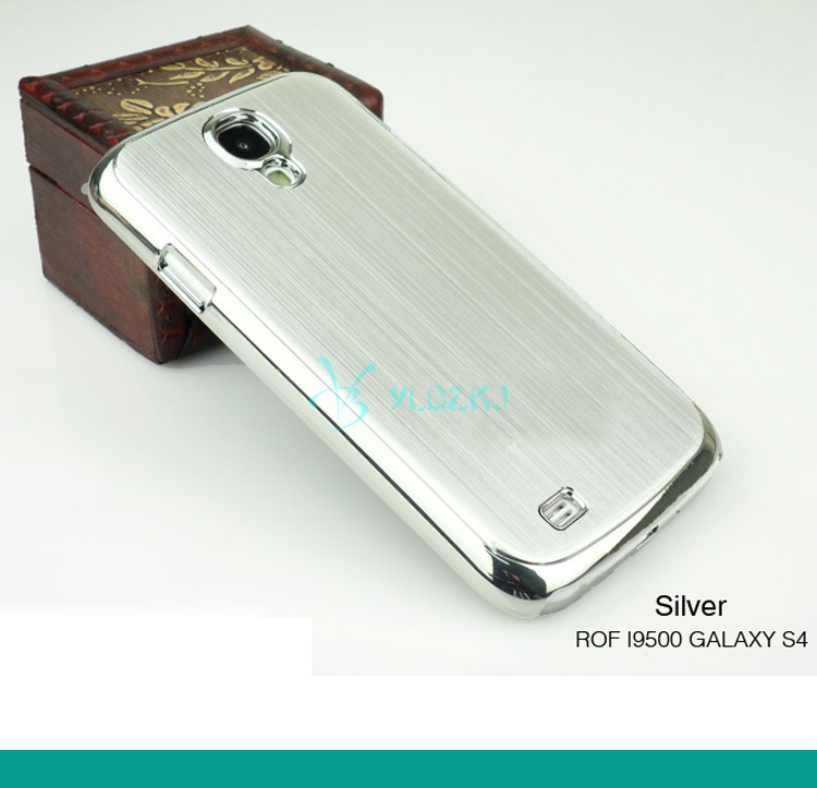 For Samsung S4 I9500 case Fashion Luxury Metal Aluminum & Plastic Brush Cell Phones Battery Back Door Cover Housing Case