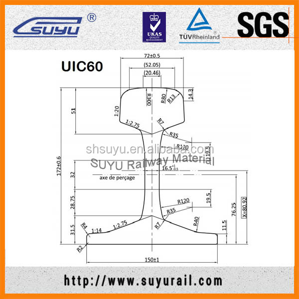 High Quality European Standard UIC60 Railway Steel Rail According UIC860