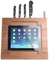 Kitchen Bamboo Digital IPad Adjustable Kitchen Stand for Knives & Kitchen Tools,, Knife Organizer and Holder