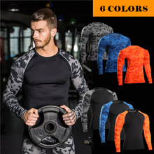 High Quality Trendy Camoflage Long Sleeve t shirt,Men Tight Fitness Gym Wear,Wholesale Men Compression Shirt