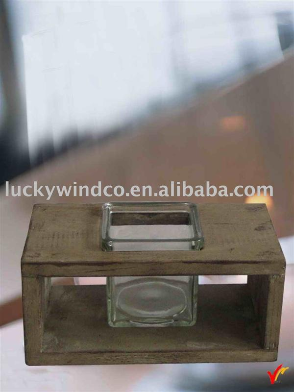 examples of handicrafts glass votive candleholder with wood base