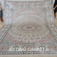 Yilong 9'x12' large silk rug classic white color oriental carpets online
