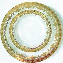 Wholesale Wedding Decoration Antique Gold Flower Glass Charger <strong>Plate</strong>