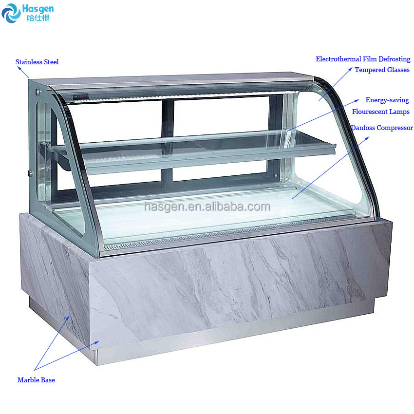 Marble base stainless steel cake showcase with curved glasses