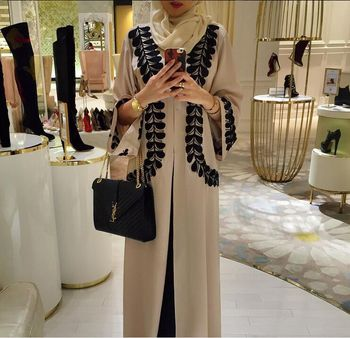 1570# Open before modest lace border clothing with long sleeve for women latest designs abaya muslim dress in Pakistan