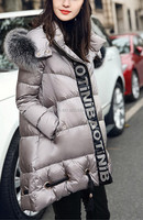 western women down overcoat with fox fur collar/ fashion women overcoat with hood/ Best sale down coat