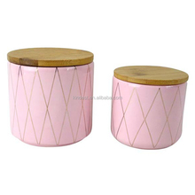 wholesales tall ceramic candle jar/canister with wooden lid supplier
