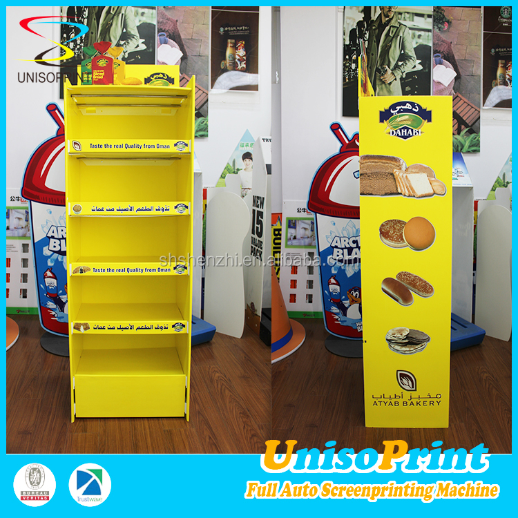 customize waterproof bread cardboard/corrugated plastic display stand for advertising