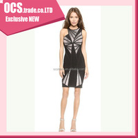 Fashion dress 2015 sexy single side front short and long back asymmetrical prom dress