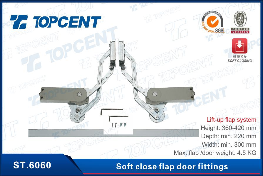 [ST.6210] Cabinet support fittings zinc alloy soft close hydraulic flap stay