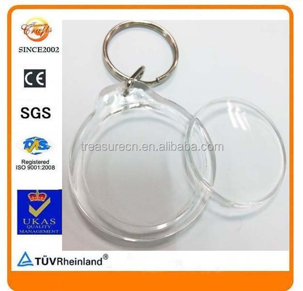 round circle clear empty acrylic keyring for photo
