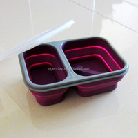 Colorful customized logo hot sale kids collapsible silicone lunch box/microwave food container