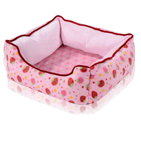Pet Dog Cat House Bed Fleece Strawberry Print New Warm House Shaped Pad Mat Kennel