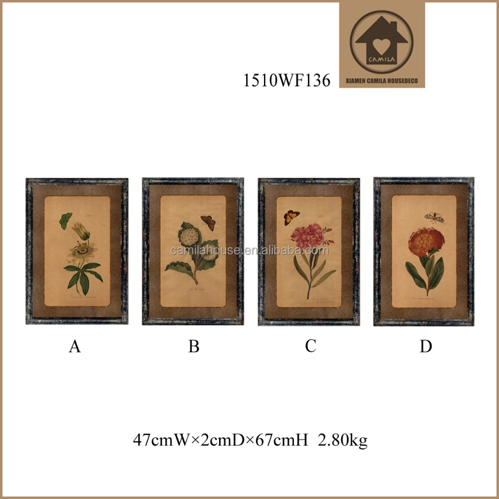 Handmade Wood Classical Painting Flower Image Vintage Wall Decoration Wooden Wall Hanging Picture Frame